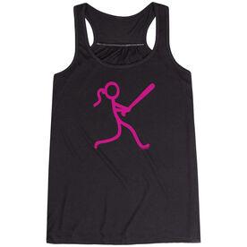 Softball Flowy Racerback Tank Top - Neon Stick Figure Girl