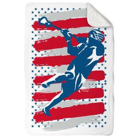 Guys Lacrosse Sherpa Fleece Blanket - USA Laxer