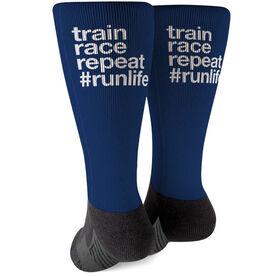 Running Printed Mid-Calf Socks - Train Race Repeat