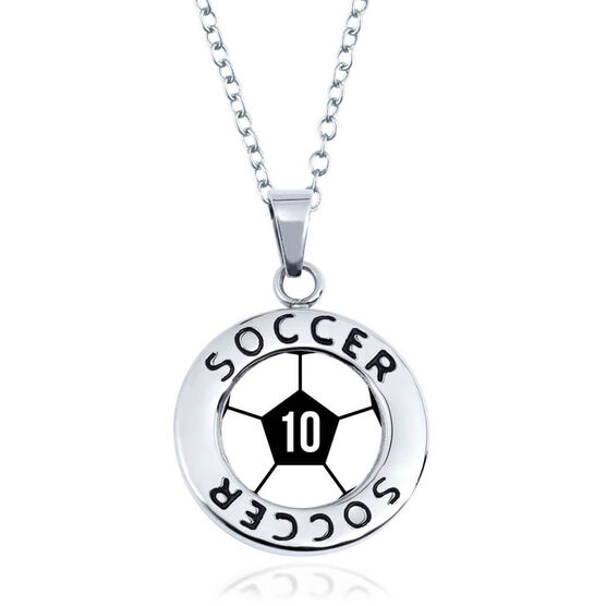 Soccer Circle Necklace - Ball With Number