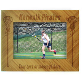 Girls Lacrosse Bamboo Engraved Picture Frame Team Name