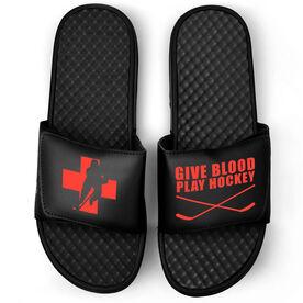 Hockey Black Slide Sandals - Give Blood Play Hockey