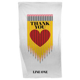 Personalized Teacher Beach Towel - Thank You Pencil Heart
