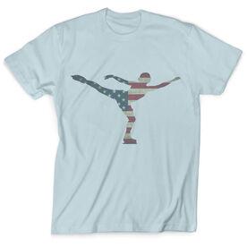 Vintage Figure Skating T-Shirt - American Flag Silhouette