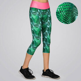 Running Performance Capris With Zipper Pocket- Tropical Vibes