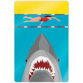 """Swimming 18"""" X 12"""" Aluminum Room Sign - Shark Attack (Girl Swimmer)"""