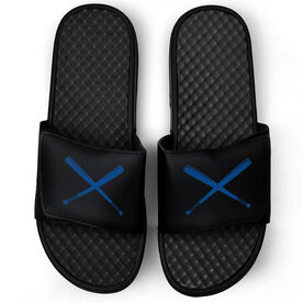 Softball Black Slide Sandals - Crossed Bats