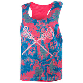 Girls Lacrosse Racerback Pinnie - Floral with Crossed Sticks