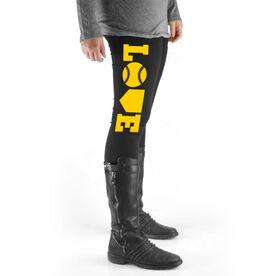 Softball High Print Leggings - Softball Love (Yellow)