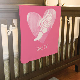 Track and Field Baby Blanket - Watercolor Heart Winged Foot