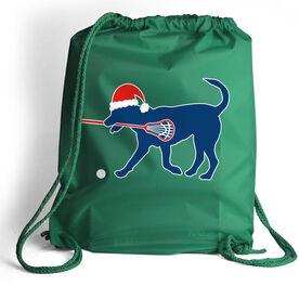 Guys Lacrosse Cinch Sack Christmas Dog