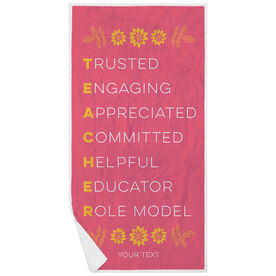 Personalized Premium Beach Towel - Teacher Words