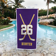 Hockey Premium Beach Towel - Personalized Player Crossed Sticks