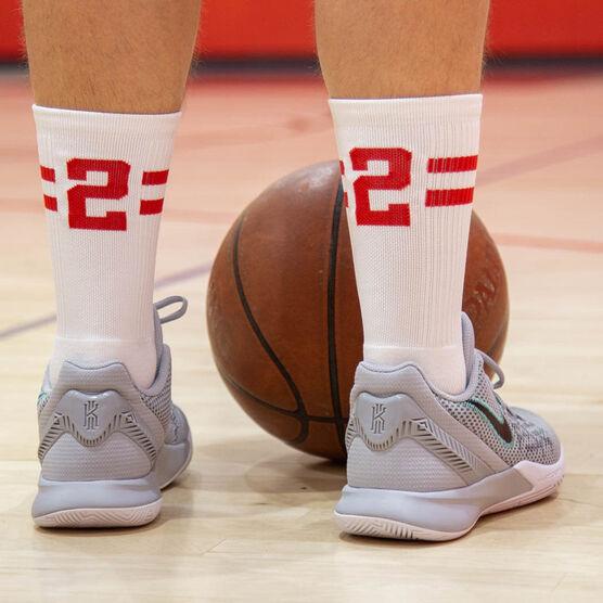 Team Number Woven Mid-Calf Socks - White/Red Stripe