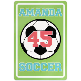 "Soccer Aluminum Room Sign Girl Personalized Soccer Ball (18"" X 12"")"