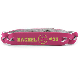 Softball Leather Engraved Bracelet Name Ball Number