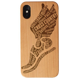Cross Country Engraved Wood IPhone® Case - Inspirational Words Winged Foot