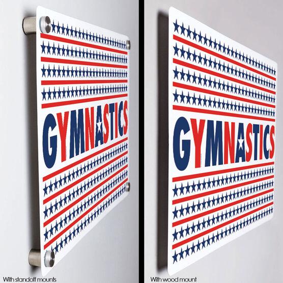 """Gymnastics 18"""" X 12"""" Aluminum Room Sign - Patriotic Gymnastics"""