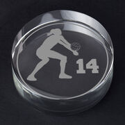 Volleyball Personalized Engraved Crystal Gift - Personalized Silhouette (Female)