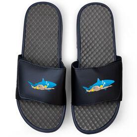 Swimming Navy Slide Sandals - Shark Swimmer