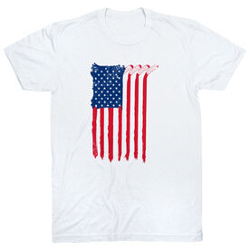 Hockey Short Sleeve T-Shirt - American Flag (Destressed)