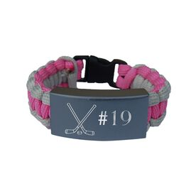 Hockey Paracord Engraved Bracelet - Crossed Sticks with Number/Pink