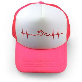 Swimming Trucker Hat Heart Beat Swim