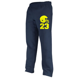 Football Fleece Sweatpants Football Helmet with Number