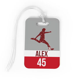 Soccer Bag/Luggage Tag - Personalized Soccer Guy Name and Number