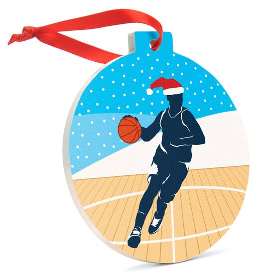 Basketball Round Ceramic Ornament - Guy Silhouette with Santa Hat
