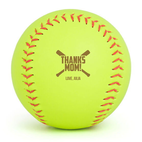 Personalized Engraved Softball - Thanks Mom