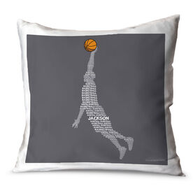 Basketball Throw Pillow Personalized Basketball Words Guy