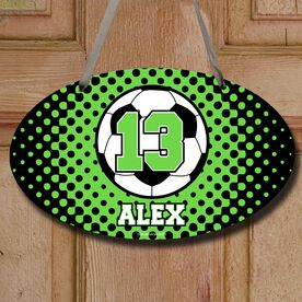 Soccer Oval Sign Personalized Soccer Ball with Dots Background