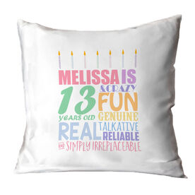 Personalized Throw Pillow - Birthday Cake Adjectives(girl)
