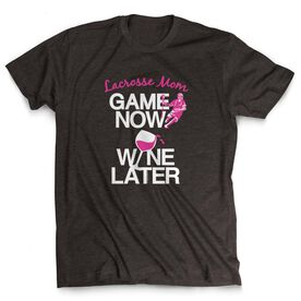 Lacrosse Mom Short Sleeve T-Shirt - Game Now Wine Later with Guys Lacrosse Player