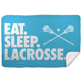 Guys Lacrosse Sherpa Fleece Blanket - Eat. Sleep. Lacrosse. Horizontal