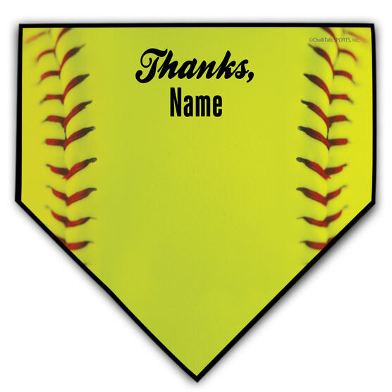 Softball Personalized Thanks Coach Home Plate Plaque
