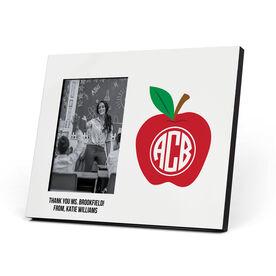 Personalized Teacher Photo Frame - Monogram Apple