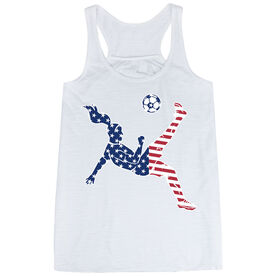 Soccer Flowy Racerback Tank Top - Girls Soccer Stars and Stripes Player