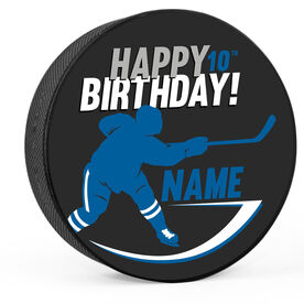 Personalized Happy Birthday Player Silhouette Hockey Puck