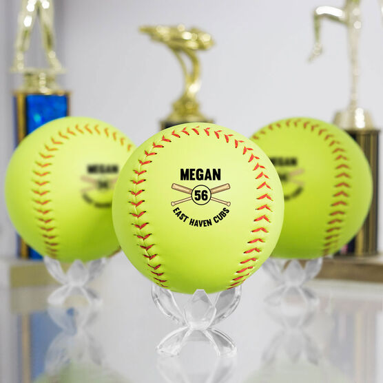 Personalized Player Name and Number Softball