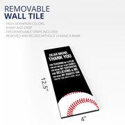 "Baseball 12.5"" X 4"" Removable Wall Tile - Dear Mom (Vertical)"