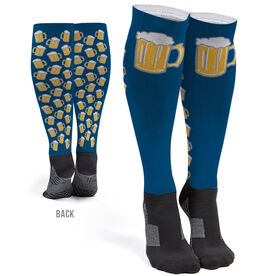 Running Printed Knee-High Socks - Run For Beer