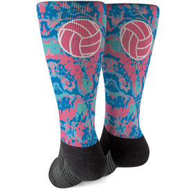 Volleyball Printed Mid-Calf Socks - Floral