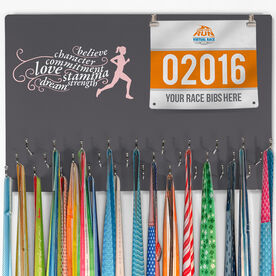 Hooked on Medals Bib & Medal Display Words to Run By