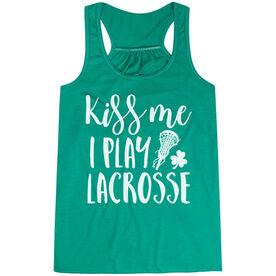 Girls Lacrosse Flowy Racerback Tank Top - Kiss Me I Play Lacrosse