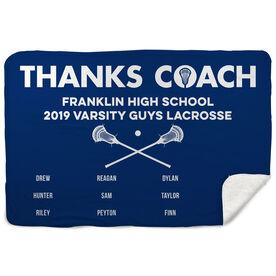 Guys Lacrosse Sherpa Fleece Blanket - Thanks Coach (Horizontal)