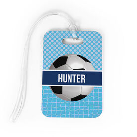 Soccer Bag/Luggage Tag - Personalized 2 Tier Patterns with Soccer Ball