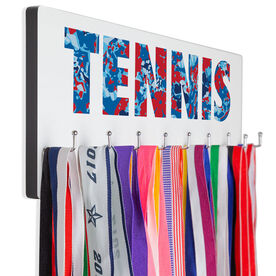 Tennis Hooked on Medals Hanger - Floral