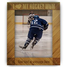 Hockey Bamboo Engraved Picture Frame Hockey Mom